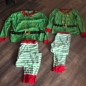 His & Hers matching elf pajamas